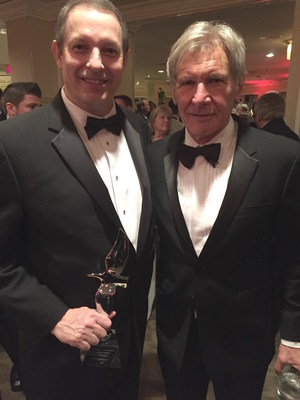 Tempus Applied Solutions CEO Scott Terry with Harrison Ford at the Living Legends of Aviation Awards