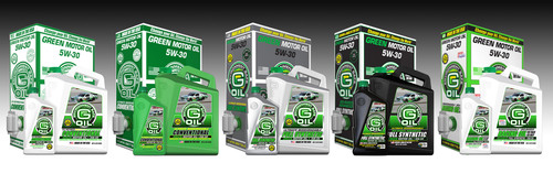 G-Oil introduces its line-up of environmentally preferred lubricants for the 2012 season, featuring a full line-up of American Petroleum Institute Certified (API) motor oils in various weights and sizes, including Ultimate Biodegradable Bio-based Advanced Full Synthetic, Full Synthetic, Synthetic Blend, Conventional and 2X Refined Motor Oils.  (PRNewsFoto/Green Earth Technologies, Inc.)