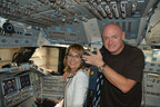 During the water tank removal process the shuttle was visited by former Endeavour astronaut Mark Kelly, who was joined by former Congresswoman Gabby Giffords. This was the first time Mark Kelly had been inside the shuttle since he was Commander of Endeavour's final mission in 2011.