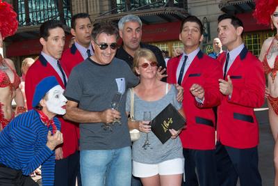 "Paris Las Vegas headliners Taylor Hicks and Jersey Boys sing ""You're our 10 millionth guest"" to the Eiffel Tower Experience's 10 millionth visitor, Martin Layton.  (PRNewsFoto/Paris Las Vegas, Erik Kabik/Retna)"