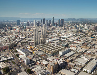 This artist's rendering depicts SunCal's proposed 6AM mixed-use development in the Los Angeles Arts District.  The City's downtown skyline appears in the background.