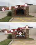 """FASTSIGNS used 3M Visual Attention Software to analyze the graphic on an existing monument sign. The top image shows the """"before"""" and the visual priority in the order that an eye is likely to go. The bottom image shows how the update to the sign could increase the chance that the sign will be noticed."""