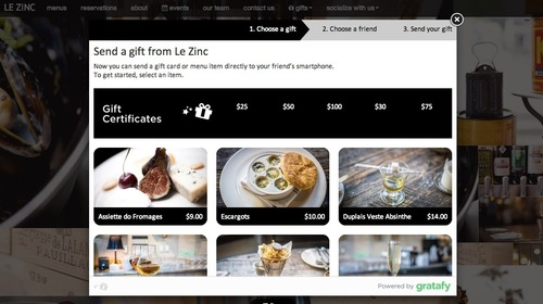 [Gratafy Widget: Gratafy's storefront is embedded onto the restaurant's website] (PRNewsFoto/Gratafy)