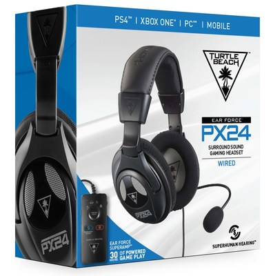 The TURTLE BEACH(R) PX24 is a multiplatform gaming headset for PS4(TM) Pro, PS4(TM), Xbox One, PC, Mac and mobile/tablet devices that features Superhuman Hearing(TM), Virtual Surround Sound, Bass Boost and more! Available at participating retailers for a MSRP of $79.95.
