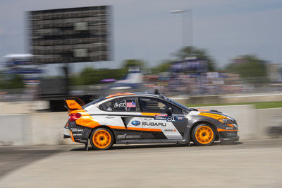Subaru factory Red Bull GRC driver Bucky Lasek in his 2015 WRX STI rallycross supercar.
