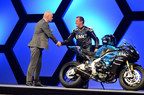 John McGuinness, a.k.a 'Morecambe Missile', with EMC CMO Jonathan Martin.