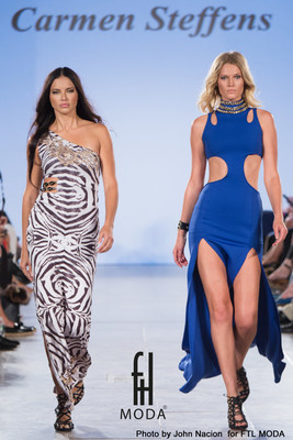 Adriana Lima and Toni Garrn walking the Carmen Steffens Catwalk. Photo by John Nacion for FTL MODA.
