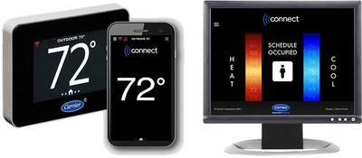 The Carrier Connect thermostat makes it easy for building operators to manage the comfort in their building from the wall, smartphone, or computer.