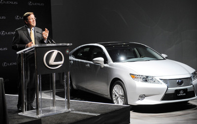 Jim Lentz, chief executive officer, North America Region  and president and chief operating officer of Toyota Motor North America, Inc., speaking at a press conference in New York City on April 19, 2013. Senior executives announced that the Lexus ES 350 will be assembled at Toyota Motor Manufacturing, Kentucky starting in 2015.   (PRNewsFoto/Toyota)