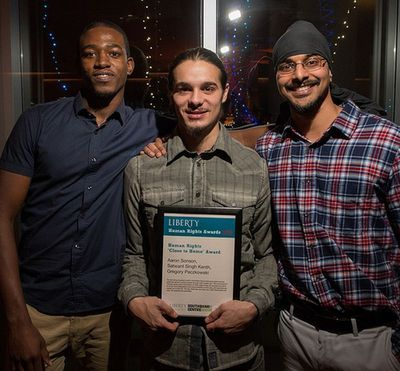 "L - R Aaron Sonson, Gregory Paczkowski and Satwant Singh Kenth with their Human Right ""Close to Home"" Award from Liberty"