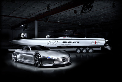 Two visions of design and craftsmanship roar into the Miami International Boat Show: the Mercedes-Benz AMG Vision Gran Turismo Concept car and the Cigarette Racing 50'(TM) Vision GT Concept.  (PRNewsFoto/Mercedes-Benz USA)