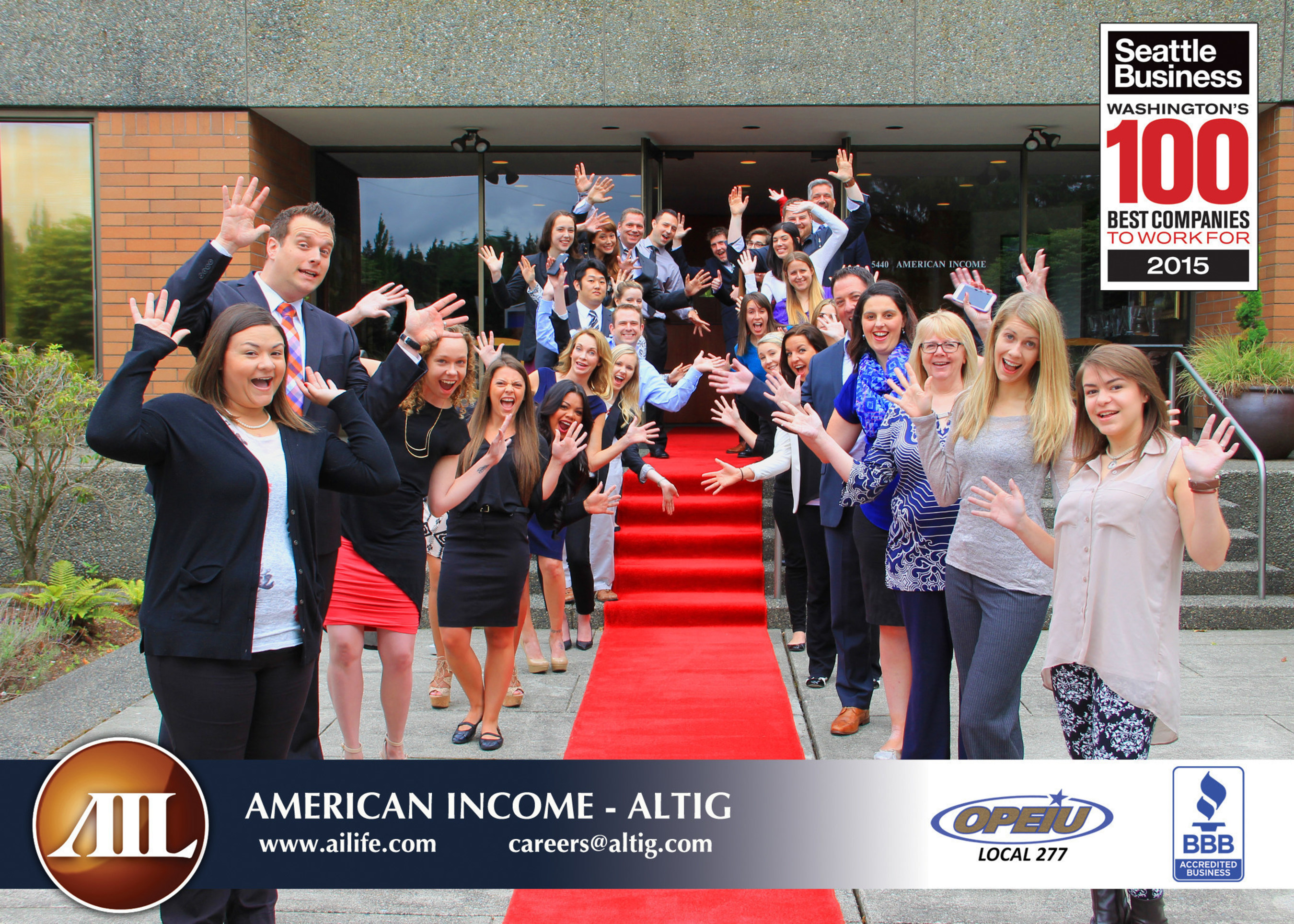 American Income Life - Altig named 2015 11th Best Company to Work For by Seattle Business magazine.