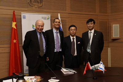 From left to right: Prof. Avram Hershko, Oramed Scientific Advisory Board; Mr. Nadav Kidron, Oramed CEO; Mr. Bin Zhou, Sinopharm Vice General President; Mr. Xiaoming  Gao, HTIT Chairman [photo: Maoz Vaystooch.  editorial use only/courtesy Oramed.]