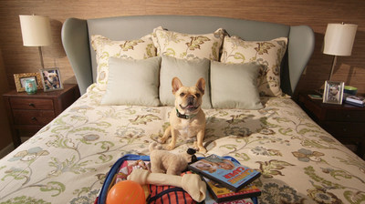 French Bulldog, Piggy, is one of the canine stars of Rover.coms new TV campaign. In this scene, he poses with his suitcase in preparation for his fun-filled stay with a Rover.com dog sitter. Piggy was a consummate pro on set  sitting and barking on commands that were given, appropriately, in French!
