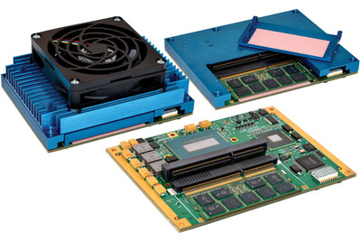 Acromag's new XCOM-6400 ruggedized COM Express Type 6 module utilizing Intel's 4th generation Core i7 or i5, with removable SODIMM hold-down latch and optional active heat sink with fan. (PRNewsFoto/Acromag)