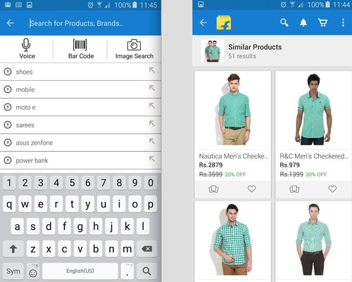 Flipkart screenshots of Similar Products and Image Search