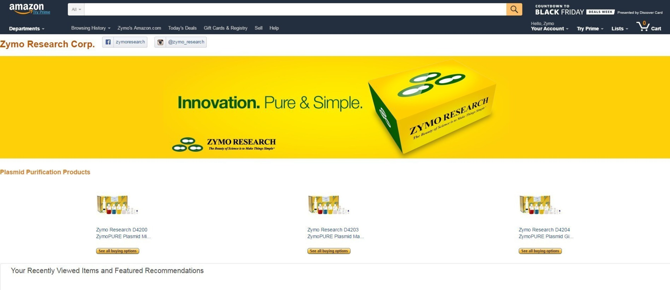 Zymo Research will be selling their most popular nucleic acid purification products through Amazon Business.