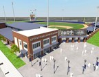 Aerial entry rendering, provided by Pendulum Studios, for Detroit Police Athletic League headquarters at historic Old Tiger Stadium site.