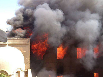 Coptic Church Burning in Egypt by members of the Muslim Brotherhood.  (PRNewsFoto/Coptic Orthodox Church Diocese of Los Angeles)