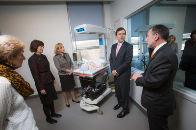 Visiting a nursing simulation lab in William Paterson University's new academic building, University Hall, were (left to right) Anna Marie Mascolo, vice chair, University's Board of Trustees; President Kathleen Waldron; Acting Governor Kim Guadagno; New Jersey State Senator Tom Kean Jr.; and Ken Wolf, dean of the University's College of Science and Health