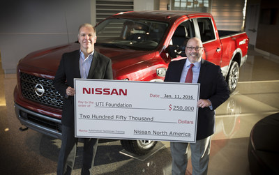 Scottsdale, AZ - January 25 - Nissan North America executives Warren DeBardelaben, Director, Dealer Support, (L) and Wally Burchfield, Vice President, Aftersales Division, present a check for $250,000  to the UTI Foundation to fund scholarships for students who wish to pursue careers as automotive technicians. Nissan has supported the UTI Foundation with more than $1.2 million in scholarship donations over the past seven years.