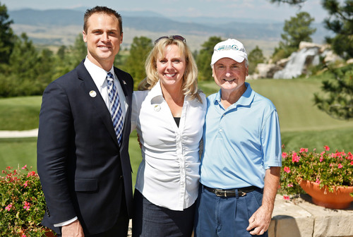 Project Sanctuary Board Member Shane Schmutz, and Founder Heather Ehle Join Aimco Chief Administrative Officer Miles Cortez at the Aimco Cares Charity Golf Classic. (PRNewsFoto/Aimco)