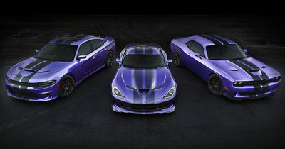 All-new dual exterior stripe design adds even more Dodge attitude to 2016 Challenger and Charger SRT Hellcat models. Exclusive dual full-length carbon fiber pattern stripes provide a customized-from-the-factory look. Dodge dealers will start taking orders for Hellcat stripes in January 2016. Dodge is also answering enthusiast demand for Plum Crazy exterior paint with an additional one-month run of the legendary and limited-edition high-impact hue. Shown in image (left to right) are: 2016 Dodge Charger SRT Hellcat, Viper SRT and Challenger SRT Hellcat in Plum Crazy.