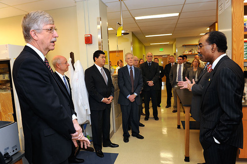 NIH Director Francis S. Collins, M.D., P.h.D., joined University of Maryland School of Medicine Dean E. Albert ...