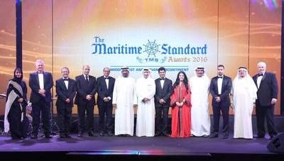 His Highness Sheikh Ahmed bin Saeed Al Maktoum (centre); (from left to right) Noura Al Dhaheri, Abu Dhabi Ports; Ray Girvan, International Bulk Journal & The Maritime Standard; Clive Woodbridge, The Maritime Standard; Eng. Yasser Zaghloul, National Marine (PRNewsFoto/The Maritime Standard)