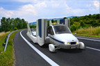 The Terrafugia Transition(R) Roadable Aircraft on its way to the 2012 New York Auto Show.  (PRNewsFoto/New York International Auto Show)