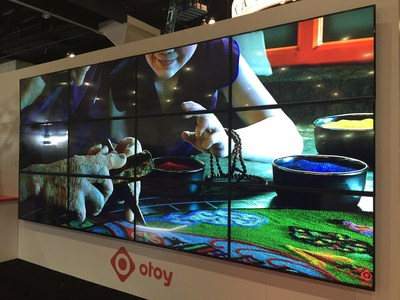 At SIGGRAPH 2015, OTOY demonstrated 16K video rendering and playback demonstrating how even the most demanding future media standards can be handled easily and economically today with existing OTOY technologies. Here a 16K video wall plays a 16K video rendered using OTOY's pipeline across 12 UltraHD 4K displays.