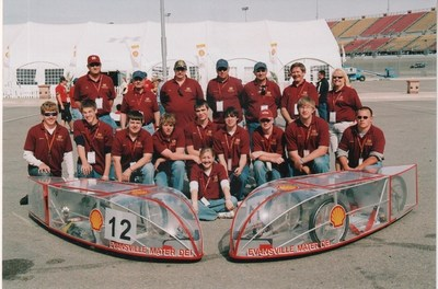 Mater Dei High School poses with their Prototype vehicles in the first Shell Eco-marathon Americas in 2007; having participated in every single competition since as a legacy team with five other schools, including: California Polytechnic State University, Cedarville University, Rose-Hulman Institute of Technology, Grand Rapids High School, and the University of California, Los Angeles.