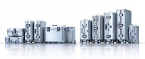 The aluminum RIMOWA Topas Collection with signature groove pattern.  (PRNewsFoto/RIMOWA)