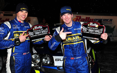 Subaru Driver David Higgins Defends Title with Dominating Win at the 2012 Sno*Drift Rally.  (PRNewsFoto/Subaru ...