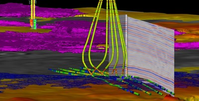 Horizontal wells in the Barnett Shale visualized using Paradigm SeisEarth (PRNewsFoto/Paradigm)