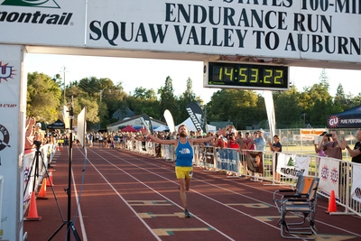 Rob Krar, 37 of Flagstaff, Ariz., wins the Western States 100 Mile Endurance Race with the second fastest time in course history. (PRNewsFoto/The North Face) (PRNewsFoto/The North Face)