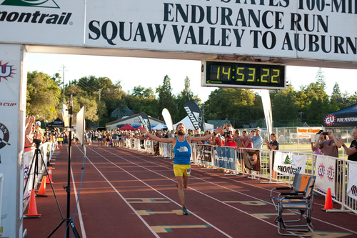 Rob Krar, 37 of Flagstaff, Ariz., wins the Western States 100 Mile Endurance Race with the second fastest time in course history. (PRNewsFoto/The North Face)