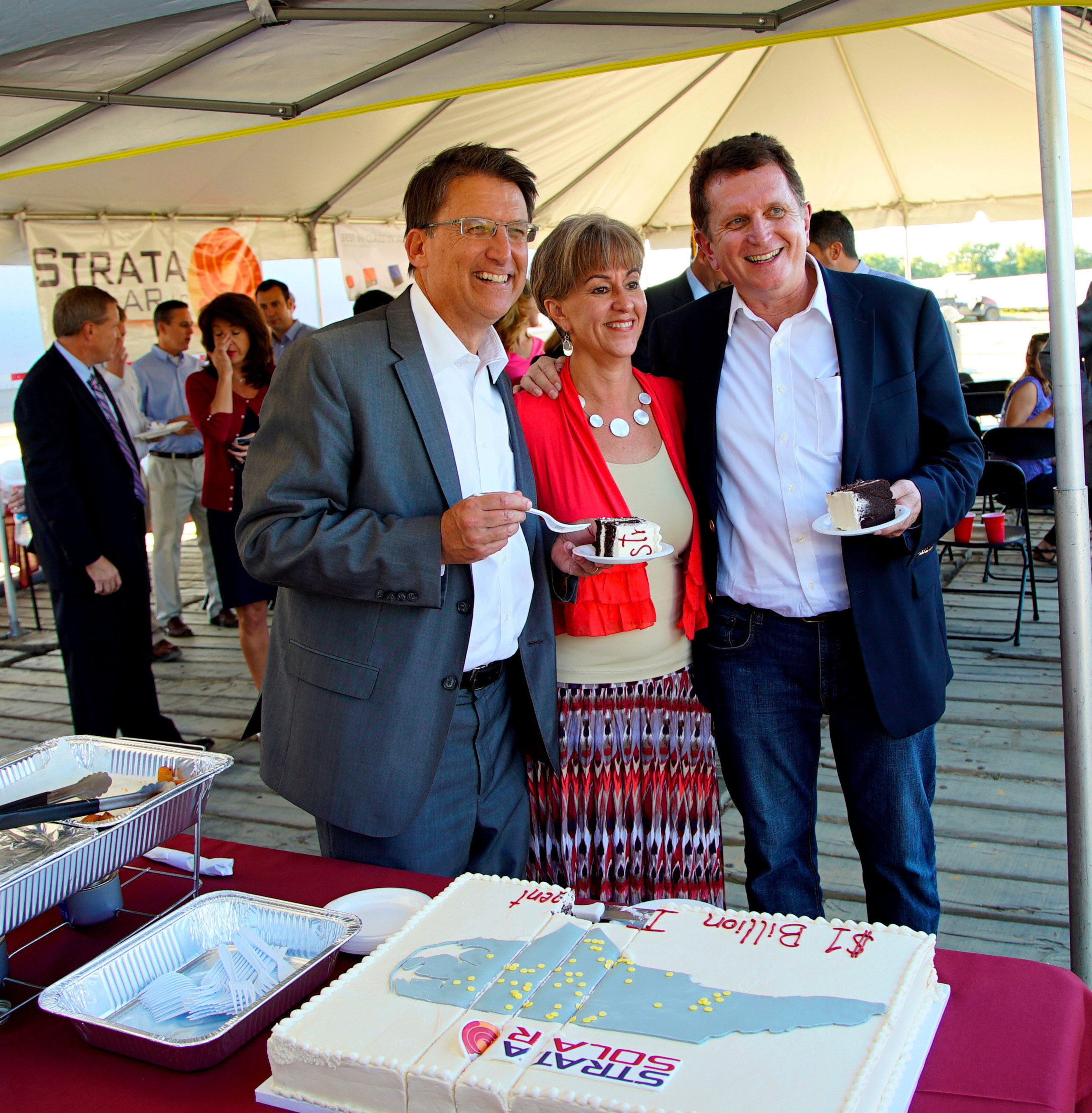 Governor Pat McCrory with Cathy Wilhelm, Strata Solar CAO and Markus Wilhelm, Strata Solar CEO