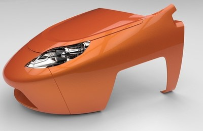 CAD rendered body panel front clip