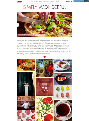 POM Wonderful, the largest producer of Wonderful variety pomegranates in the U.S., kicks off pomegranate season with the launch of their Simply Wonderful digital magazine (simplywonderful.tumblr.com) featuring new Chef Series recipes and other POM-spired ideas for fall.  (PRNewsFoto/POM Wonderful)