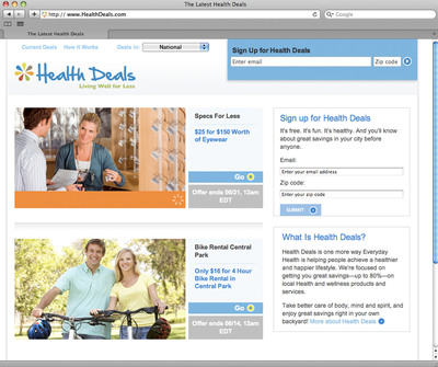 Everyday Health, Inc. Introduces 'Health Deals' Online Deal Site; First Solely Dedicated to Health & Wellness With Savings up to 80 Percent.  (PRNewsFoto/Everyday Health, Inc.)
