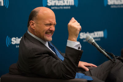 "CNBC's Jim Cramer sits down for audience Q & A on ""SiriusXM's Town Hall with Jim Cramer"" hosted  by SiriusXM's Pete Dominick.  (PRNewsFoto/Sirius XM Radio, Jason Shaltz)"