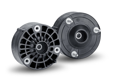 This strut mount is the world's first fiberglass-reinforced polyamide strut mount designed for use in the passenger car chassis system. For the front and rear axles, there are different versions.