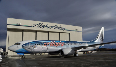 Alaska Airlines rolled in a 91,000 pound King Salmon in Anchorage, Alaska.  (PRNewsFoto/Alaska Airlines)