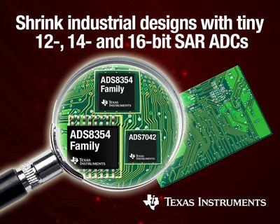 New analog-to-digital converters (ADCs) from Texas Instruments (TI) push size, power and performance boundaries for industrial monitoring and control applications (PRNewsFoto/Texas Instruments)