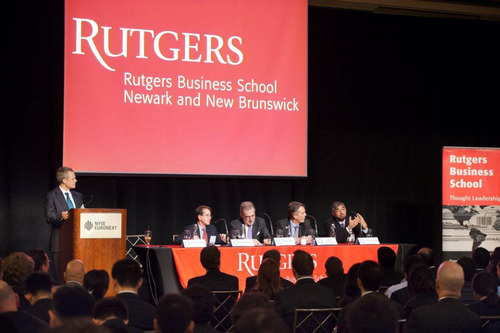The Master of Quantitative Finance Program's annual summit is an example of how Rutgers Business School benefits from its strong connections to Wall Street.  (PRNewsFoto/Rutgers Business School)