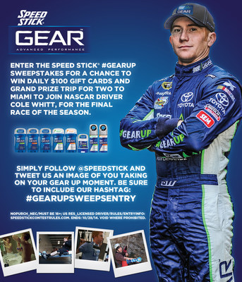 Speed Stick and NASCAR Driver Cole Whitt offer fans a chance to join them in Miami for the season's final race by entering the Gear Up Sweepstakes