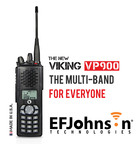 EFJohnson introduces the new Viking VP900 Multi-Band portable radio at IWCE... all of the features you would expect from a multi-band at half the cost of comparable radios. The VP900 is the smallest multi-band portable on the market and is equipped with the loudest audio, the industry's leading noise cancellation, and optional internal GPS. It also includes standard features such as immersion, top display, and voice annunciation.  (PRNewsFoto/EF Johnson Technologies, Inc.)