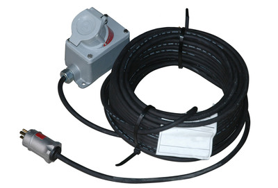 The Larson Electronics EPEXC-25 Explosion Proof extension cord allows operators to safely extend the range of their explosion proof light or equipment cords beyond the boundaries of the hazardous work area. These units are constructed of 25 feet of 12/3 SOOW explosion proof cord rated at 15 amps of continuous service. The cord is chemical and abrasion resistant and comes with a 20 amp explosion proof receptacle installed on one end and a 15 amp explosion proof plug installed on the other end.  (PRNewsFoto/Larson Electronics)