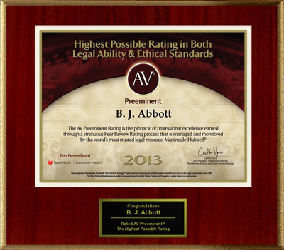 Attorney B. J. Abbott has Achieved the AV Preeminent(R) Rating - the Highest Possible Rating from Martindale-Hubbell(R).  (PRNewsFoto/American Registry)